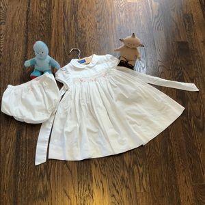 Jacadi white smocked dress with matching bloomer